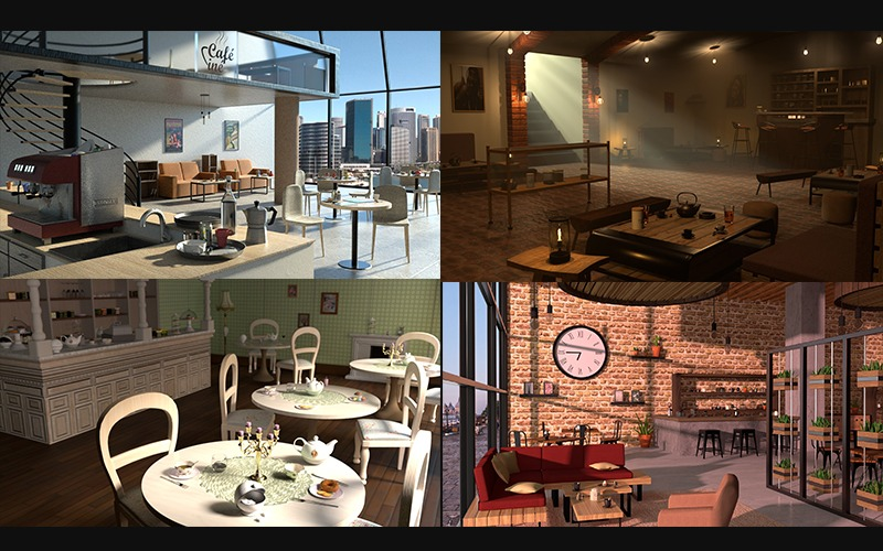 Modélisation 3D d'un Salon de Thé ou d'un Coffee Shop